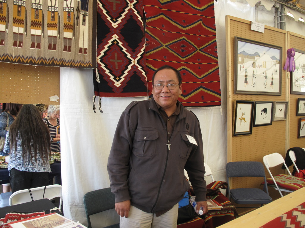 Jason Harvey with his weaving