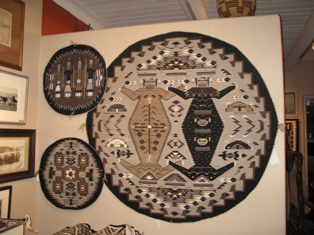 Round Sandpainting weavings by Mary H. Yazzie